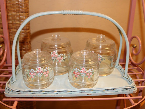 Vintage Hand Painted Nursery Jar Set W/ Carrier