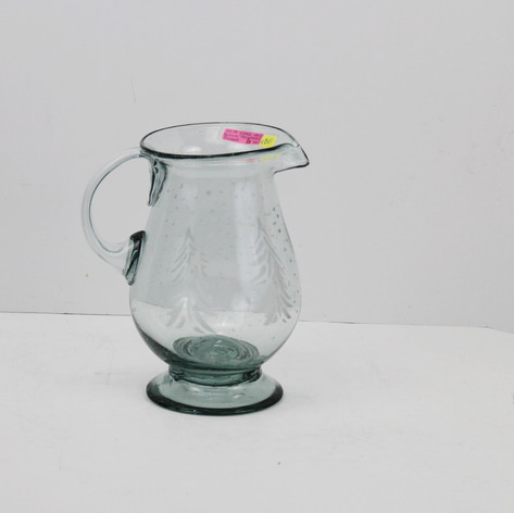 Hand Blown Tree Etched Pitcher