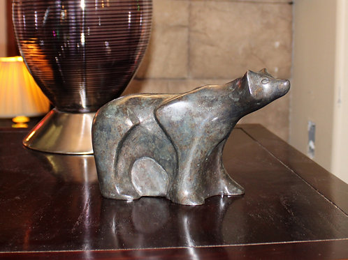 Signed Bronze Polar Bear Sculpture