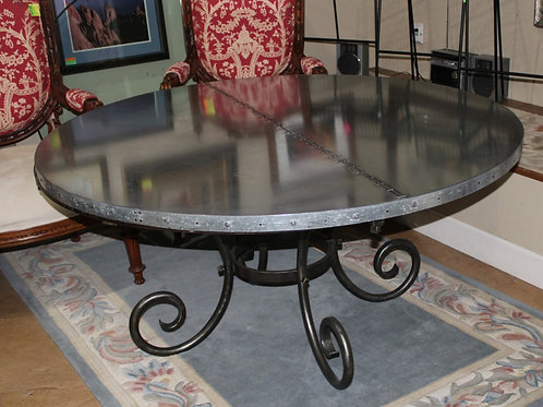 Custom Stell top Wrought Iron Base Table