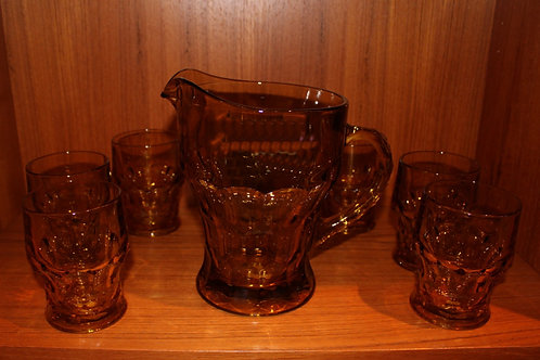 Eight Piece Amber Indiana Glass Pitcher & Seven Glasses
