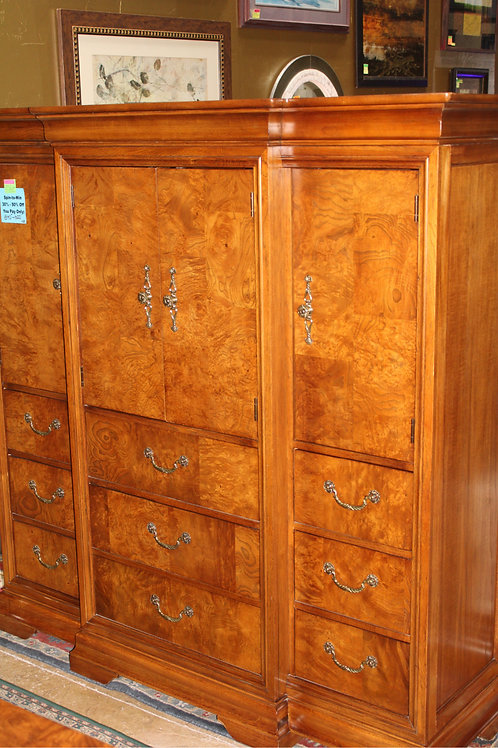 Three Piece Burled Walnut Queen Bedroom Suite