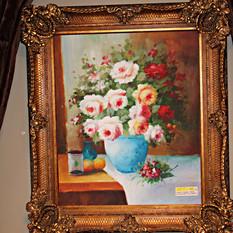 Framed Vase of Flowers on Canvas