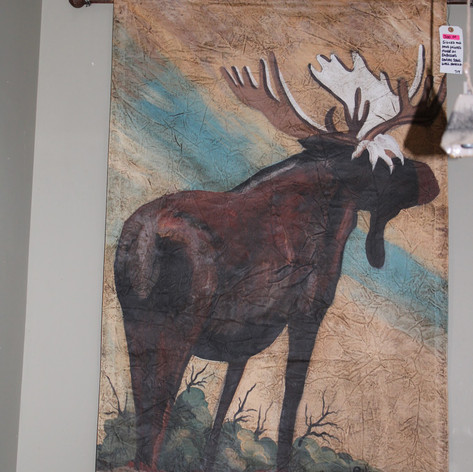 Signed Hand Painted Moose on Canvas Wall Scroll