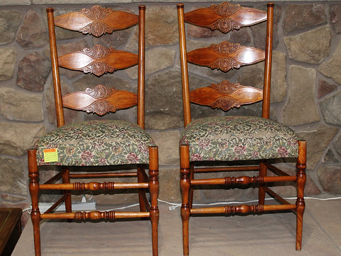 Pair Antique Carved Back Upholstered Seat Chairs