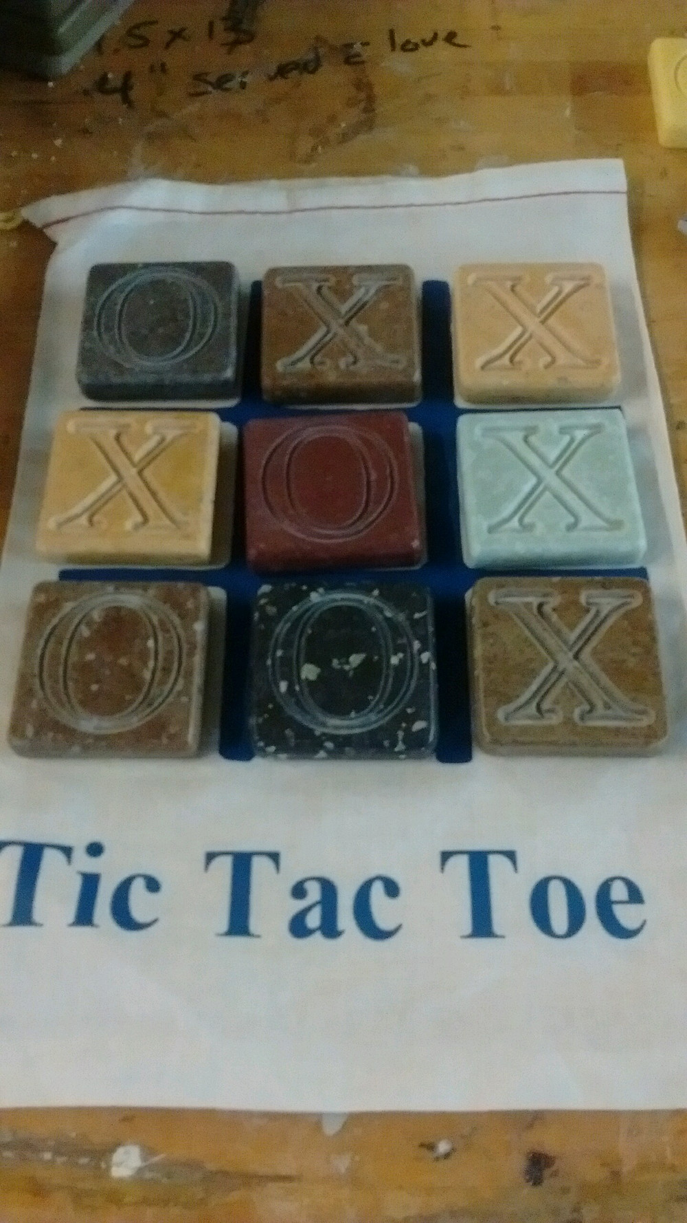 Tic Tac Toe engraved tiles/bag with heat transfer vinyl on U-Line hardware bag