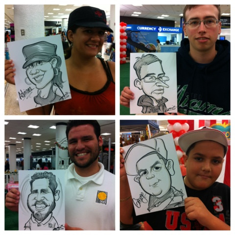 Images of The Traditional Caricaturist's Work. People holding the completed caricature to their face for comparison.