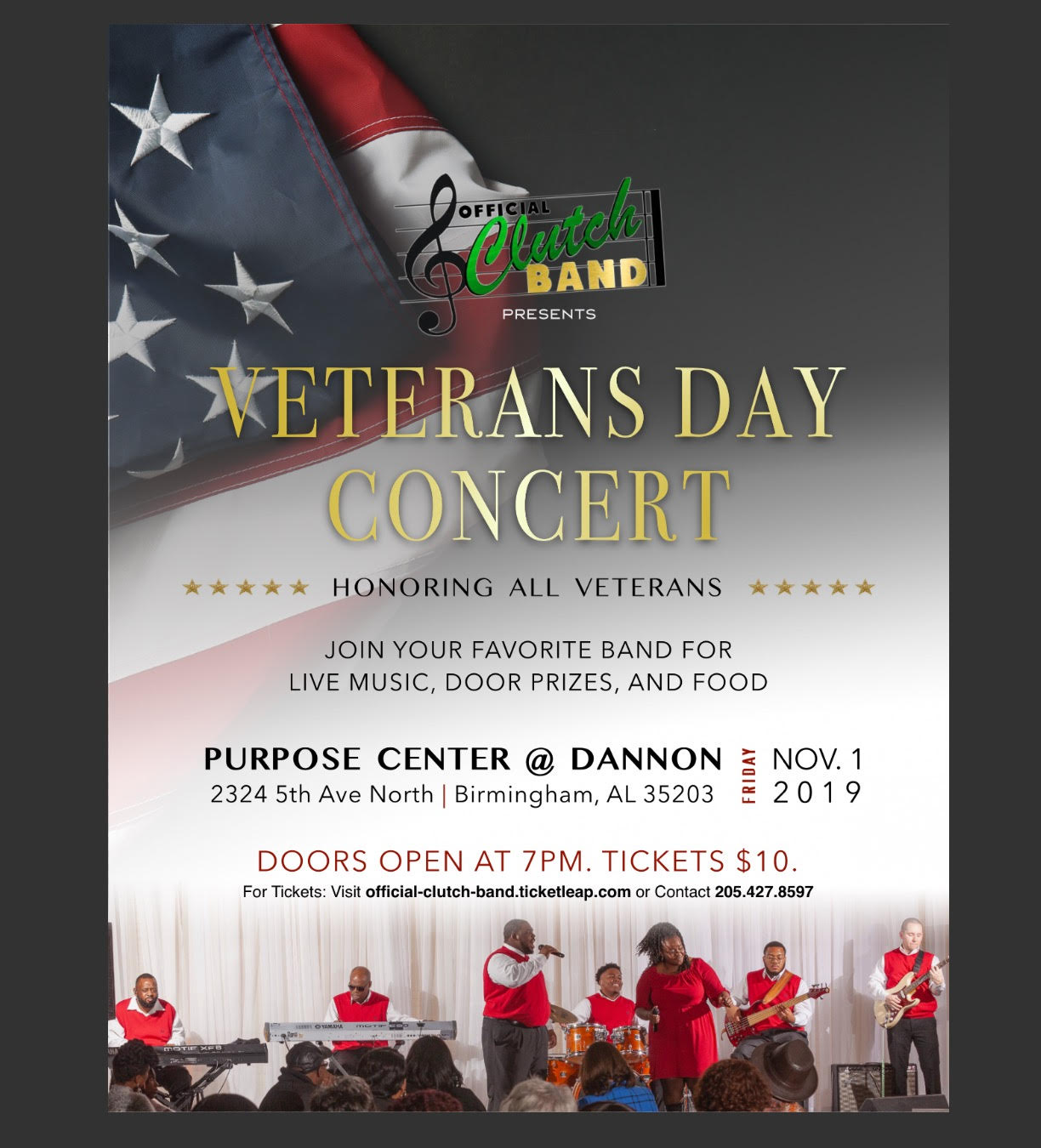 Liv On Fifth Birmingham Al: 3rd Annual Official Clutch Band Veterans Day Concert