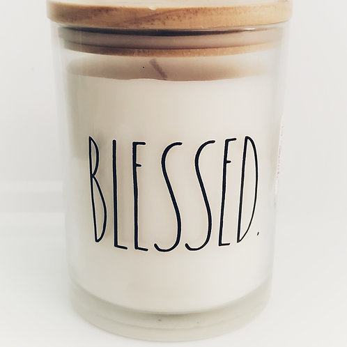 Rae Dunn BLESSED Candle, soy blend wax