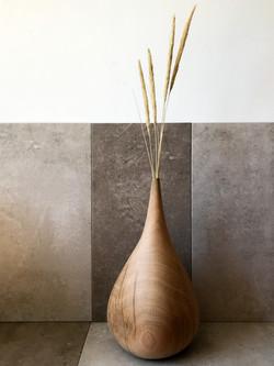 Large carved oak vase by Jamie Gaunt