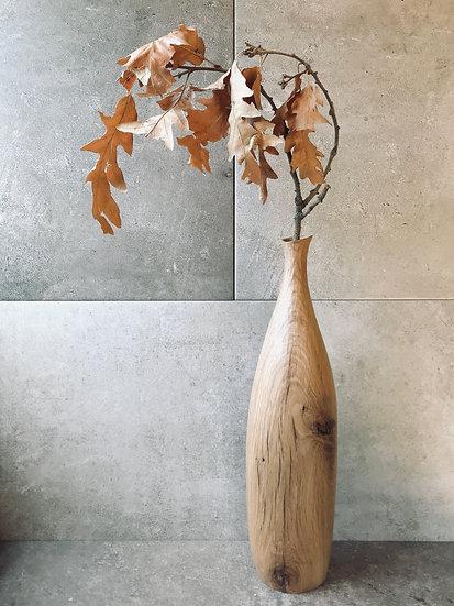 Tall vase in oak