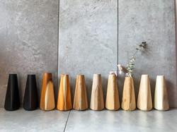 Standard wood vases in various woods by