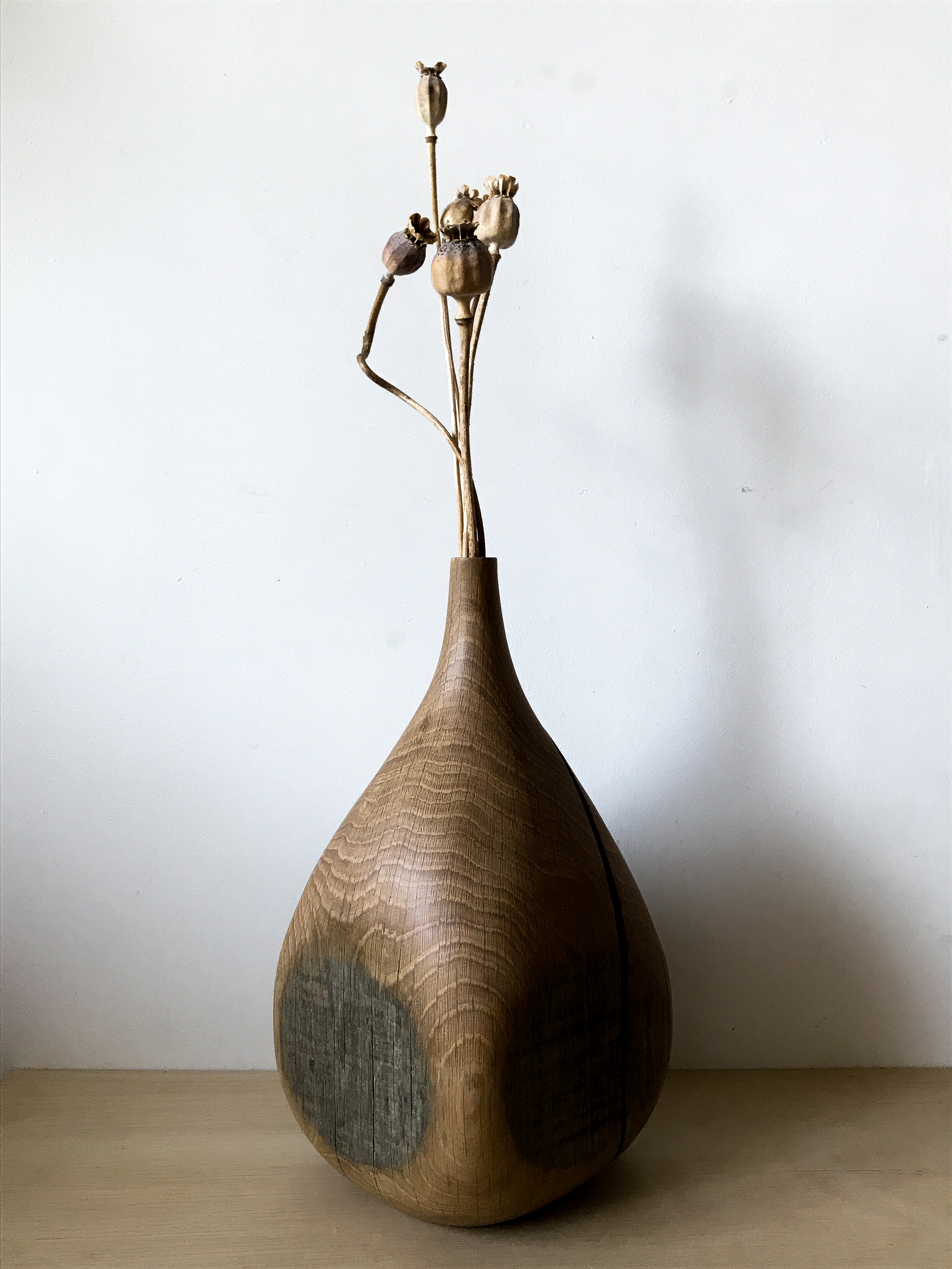 Hand carved vase by woodworker and craft