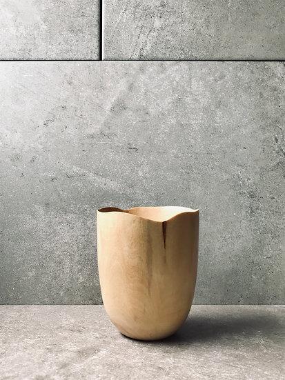 Hand carved beaker in birch