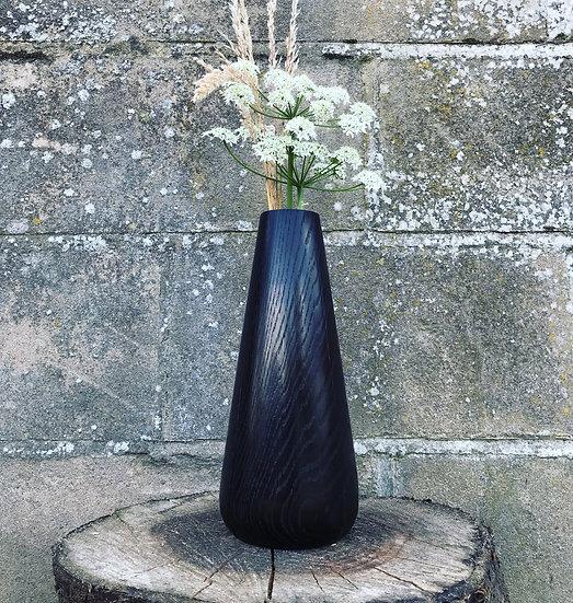 Scorched vase in oak