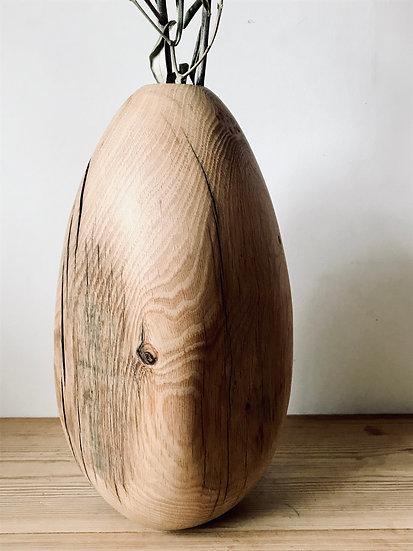 Cracked egg flower vase in oak