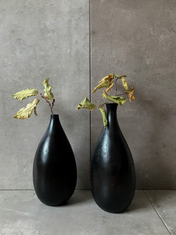 Ebonised oak vases by UK woodworker and