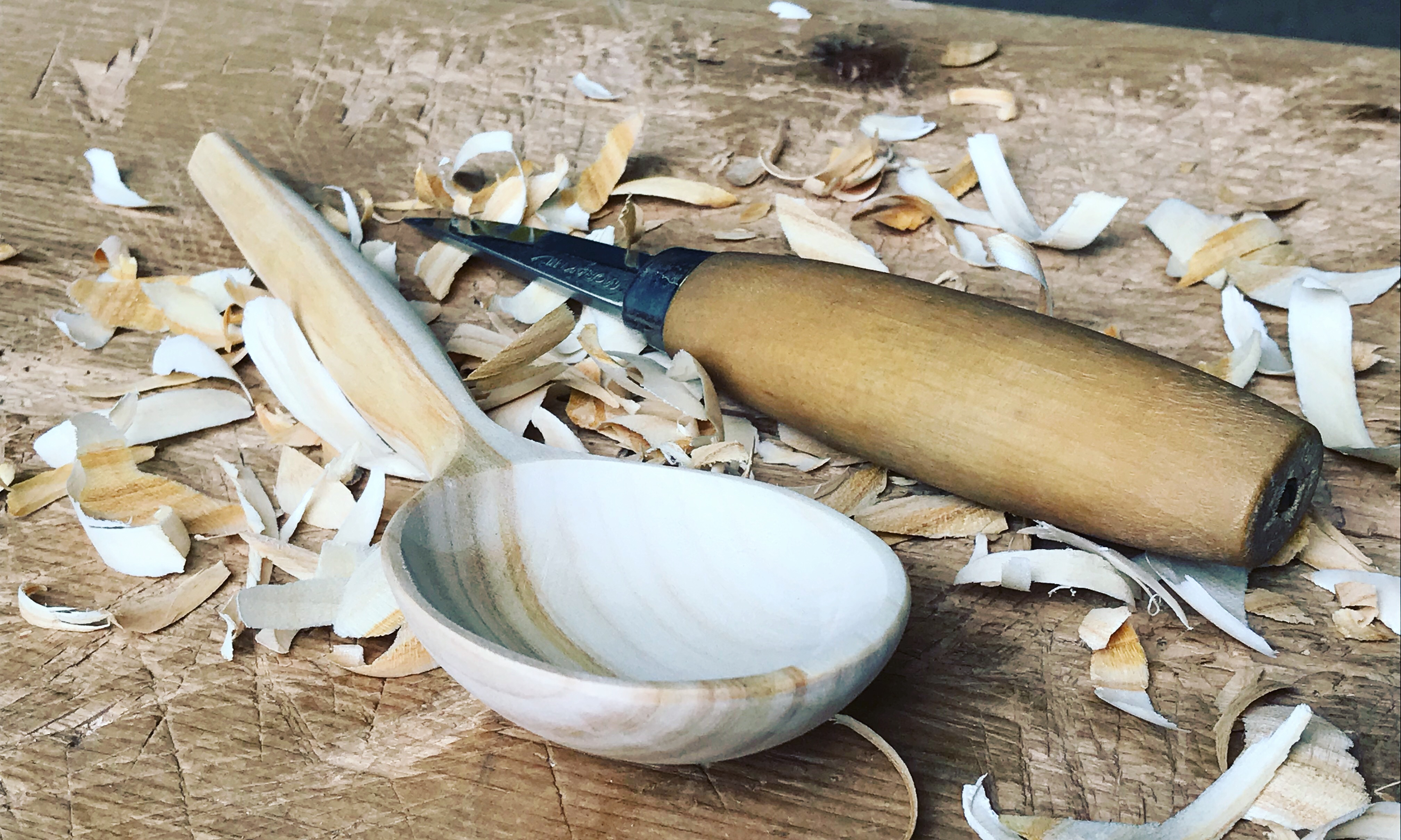 Hand carved spoon made by wood worker and craftsman Jamie Gaunt