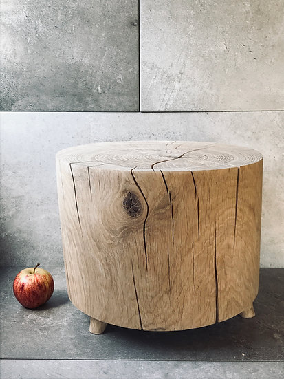 Carved stool in oak
