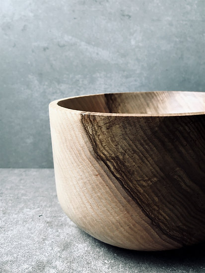 Carved shallow bowl in ash