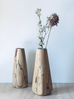 A pair of beautiful spalted beech vases that were hand made in the UK by Jamie Gaunt