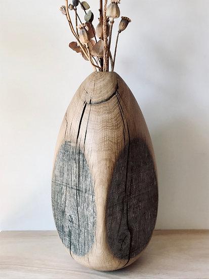 Cracked egg vase in oak - Large