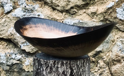Semi-scorched oak dish hand carved from a single piece of wood by Jamie Gaunt