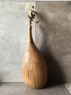 Carved oak vase by Jamie Gaunt woodworke