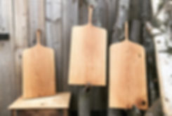 handmade oak chopping boards with carved handle, finished with organic coconut wax and flaxseed oil