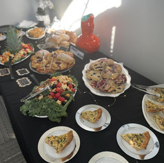 Business Meeting Breakfast with Quiche, Hand Laminated Pastry Assortment & Fruit Medley