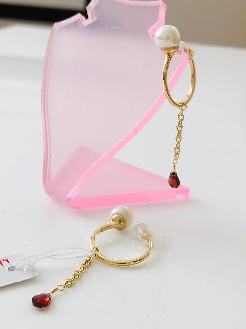 宝石質ガーネットのSDイヤリング