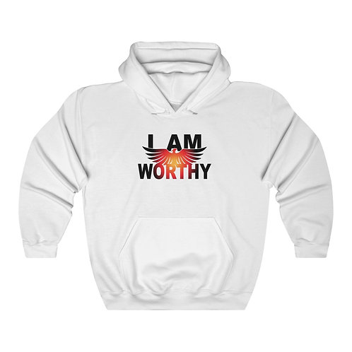 """I AM WORTHY"" Unisex Hooded Sweatshirt"