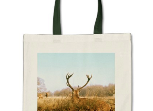 Tote Bag - Red Stag - Green Handles