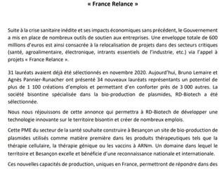 FRANCE RELANCE : Une nouvelle entreprise bisontine lauréate