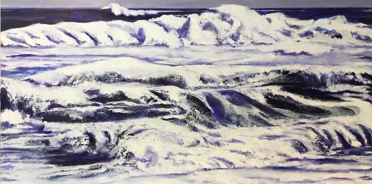 Ocean Oil painting, Hurrican painting, Lesli Uribe