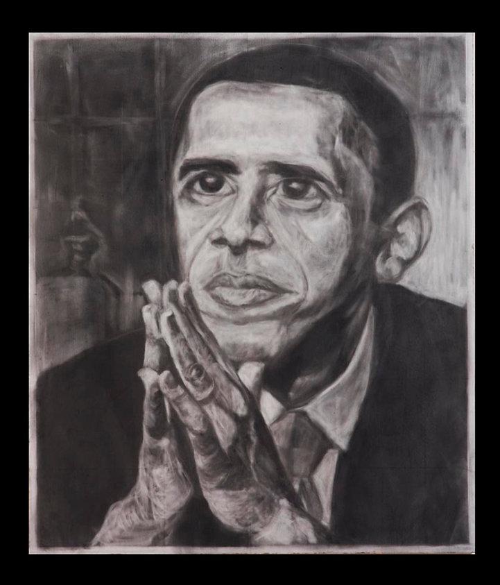 Obama Honoring Martin Luther King, Obama Art, Lesli Uribe