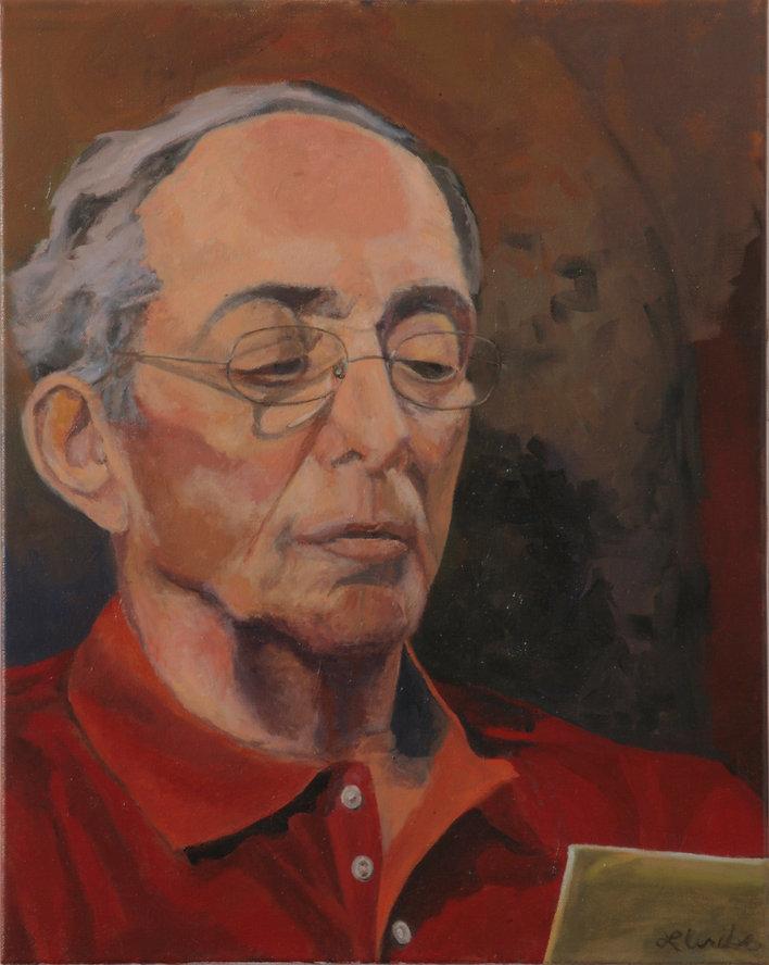 Oil Portrait, Donald Grant reading Barack Obama's book, Lesli Uribe