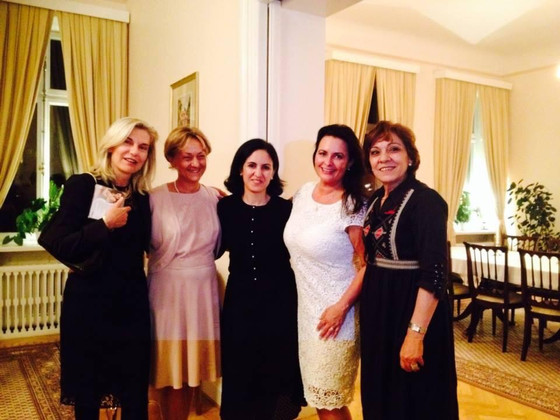 Sisters. A special evening with very good friends. The Ambassador of Italy Elena Basile, the Ambassa