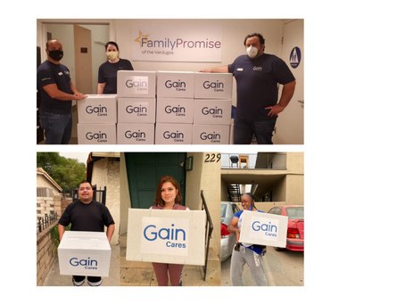 FAMILIES BENEFIT FROM GAIN'S FOOD DRIVE