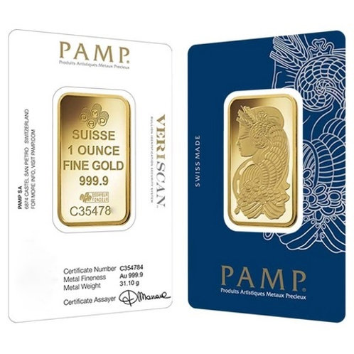 1 OZ GOLD BAR-PAMP SUISSE LADY FORTUNA CLASSIC ASSAY
