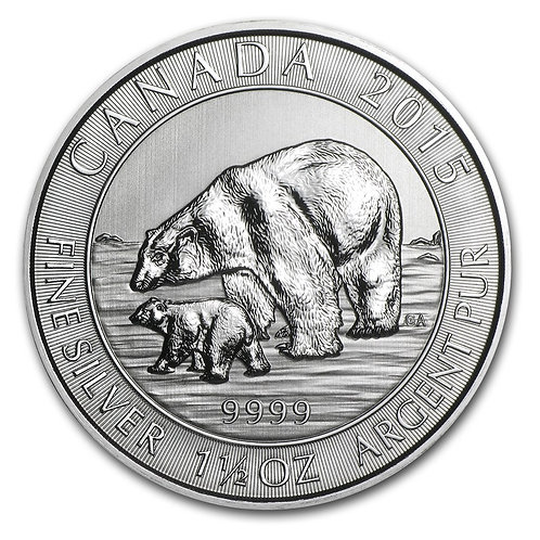 1.5 Oz. Silver Canadian Polar Bear & Cub