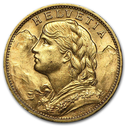 Pre 1933 Swiss 20 Francs Helvetia
