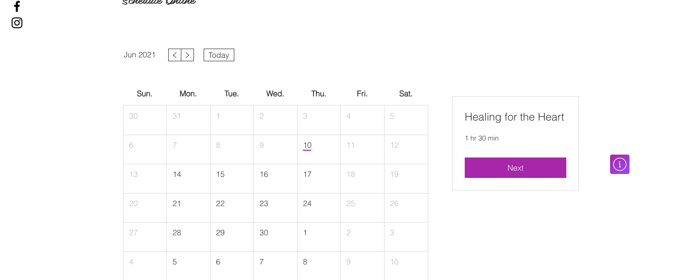 Individual Sessions Calender