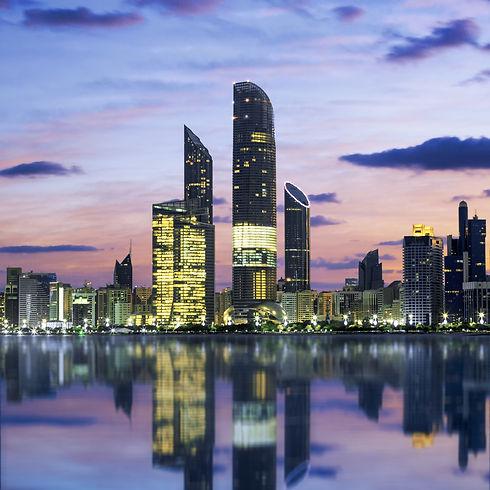 Abu Dhabi Skyline at sunset, United Arab