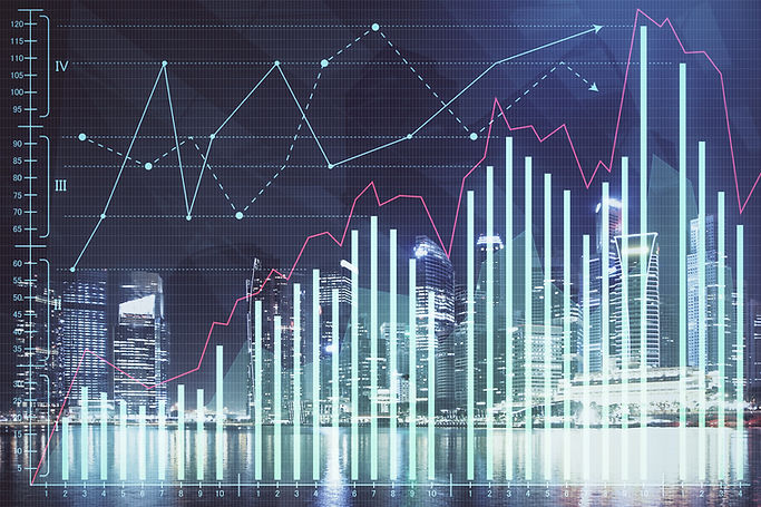 Financial chart on city scape with tall