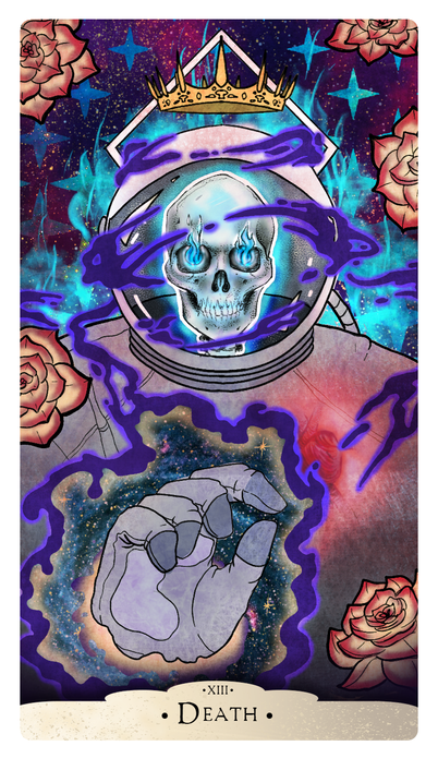 Part of a project to create a deck of Major Arcana cards for The Vigil group, Photoshop August 2018
