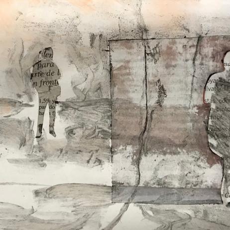 Autor: Alejandra Mastro Título: Hombres de papel Año: 2020 Técnica: Collage, técnica mixta Dimensiones: 15x24cm