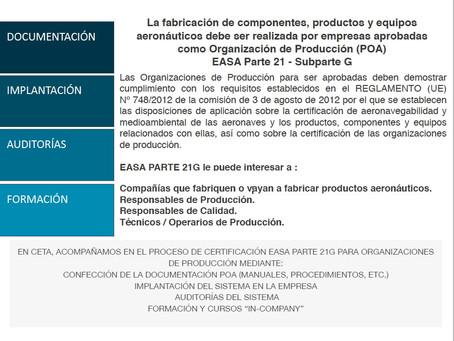 CONSULTORÍA AERONÁUTICA  EASA PARTE 21G  Organizaciones de Producción