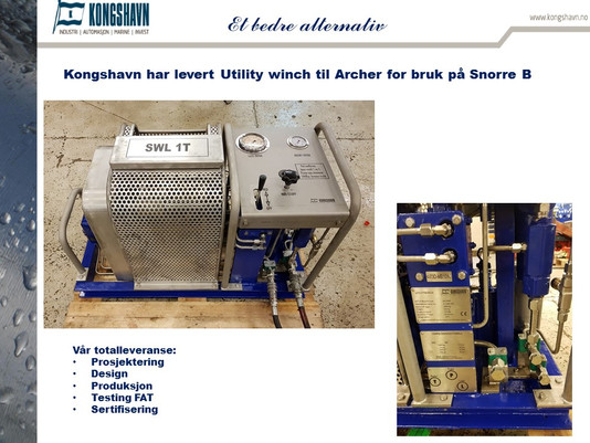 Kongshavn har levert Utility winch til Archer for bruk på Snorre B