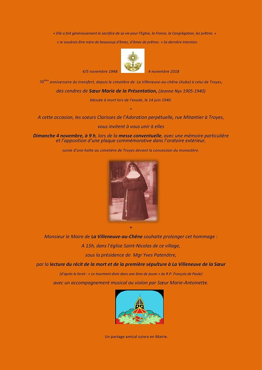 programme Sr Marie de la Presentation -